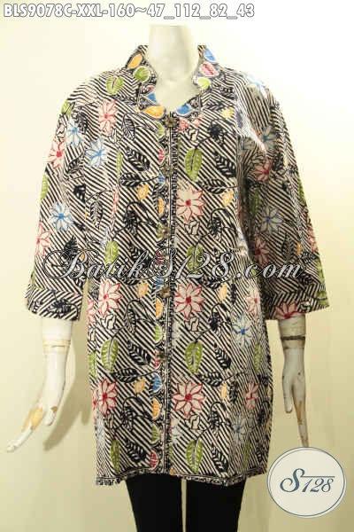 Busana Batik Wanita Terbaru Lengan 3/4, Pakaian Batik Jumbo XXL Kancing Depan Motif Terbaru Proses Cap, Bahan Halus Warna Trendy Untuk Cewek Gemuk Tampil Cantik Menawan