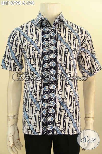 Baju Batik Hem Trendy Motif Klasik, Busana Batik Solo Lengan Pendek Halus Proses Cap Model Terbaru, Cocok Untuk Santai Dan Resmi [LD11679C-S]