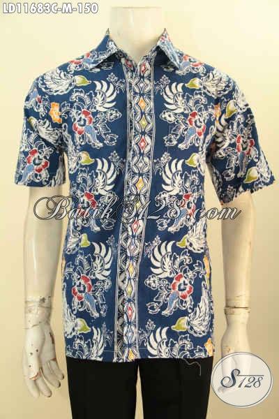 Baju Batik Santai Pria Terbaru Size M, Kemeja Batik Solo Motif Keren Model Lengan Pendek Warna Biru Proses Cap, Cocok Sekali Buat Hangout Dan Jalan-Jalan