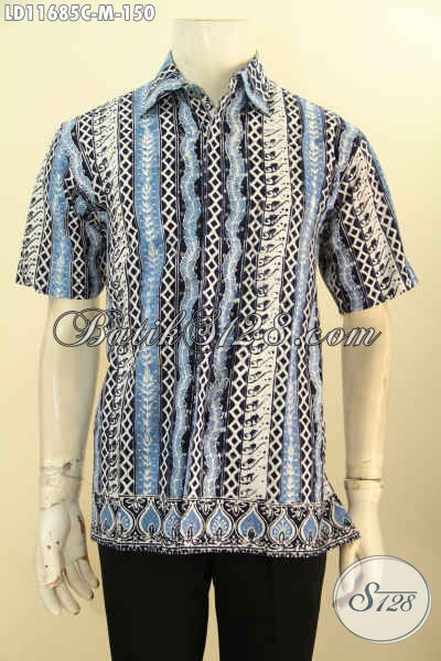 Baju Batik Lengan Pendek Pria Modis Model Kekinian, Pakaian Batik Solo Asli Motif Terbaru Yang Menunjang Penampilan Lebih Ganteng Maksimal [LD11685C-M]