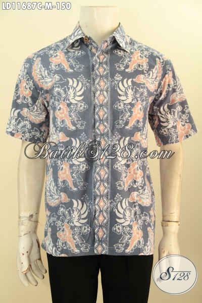Kemeja Batik Seragam Kerja Pria Model Lengan Pendek Bahan Halus Motif Terkini Proses Cap, Pakaian Batik Solo Asli Yang Membuat Pria Tampil Makin Keren Dan Macho