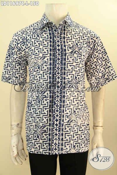 Baju Batik Kerja Lengan Pendek Motif Keren Proses Cap, Busana Batik Kemeja Trendy Desain Terbaru Untuk Penampilan Lebih Gagah Dan Tampan Sempurna