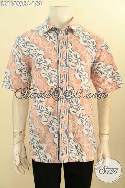 Batik Kemeja Lengan Pendek Motif Parang Desain Modern Dengan Warna Pastel Proses Cap, Pakaian Batik Solo Kekinian Yang Menunjang Penampilan Lebih Menawan