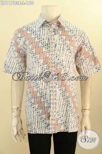 Kemeja Batik Buat Kerja Pria Model Lengan Pendek Ukuran L Motif