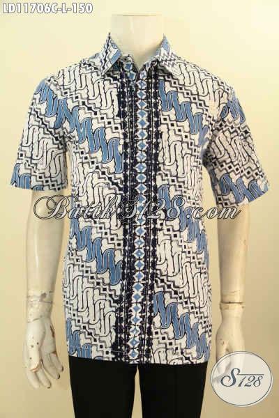 Baju Batik Pria Lengan Pendek Solo Halus Motif Klasik, Busana Batik Pria Desain Berkelas Warna Elegan, Tampil Macho Dan Berkelas