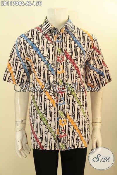 Busana Batik Elegan Motif Klasik Warna Keren Kwalitas Istimewa Model Lengan Pendek, Bahan Halus Nyaman Di Pakai Kerja Dan Acara Resmi