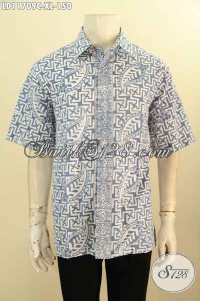 Baju Batik Masa Kini Model Lengan Pendek Motif Bagus, Pakaian Batik Kemeja Pria Untuk Seragam Kantor Nan Modis Dan Berkelas Motif Trendy Proses Cap, Penampilan Makin Gagah Dan Tampan [LD11709C-XL]