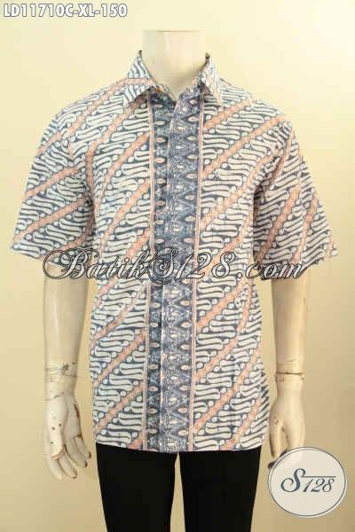 Kemeja Batik Lengan Pendek Elegan Cocok Untuk Seragam Kantor, Busana Batik Modis Kwalitas Istimewa Motif Klasik Dengan Paduan Warna Trendy Proses Cap, Tampil Tampan Dan Rapi
