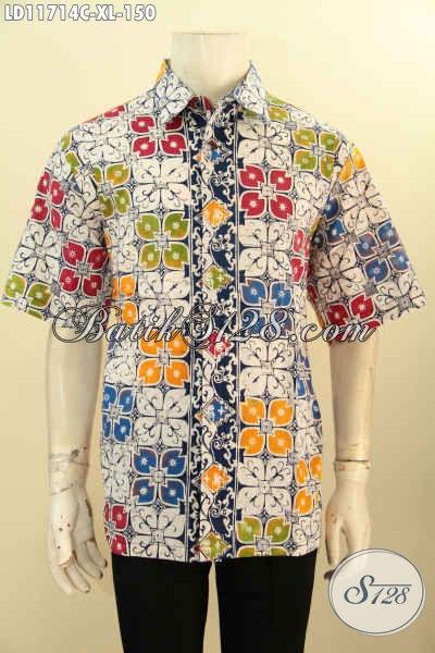 Baju Batik Gaul Pria Motif Unik, Busana Batik Lengan Pendek Nan Istimewa Khas Solo Proses Cap, Cocok Untuk Santai Dan Kerja Tampil Menawan