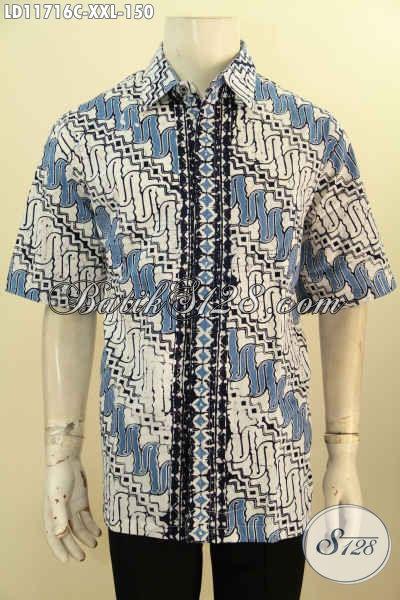 Kemeja Batik Pria Gemuk Lengan Pendek Motif Parang, Berbahan Halus Dengan Kombinasi Warna Biru Dan Putih Proses Cap, Tampil Gagah Dan Elegan