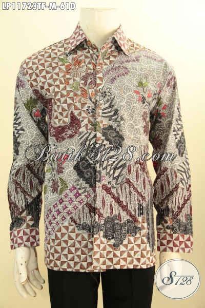 Baju Kemeja Batik Pria Lengan Panjang Full Furing Desain Mewah Motif Elegan Tulis Asli, Tampil Berwibawa Bak Pejabat