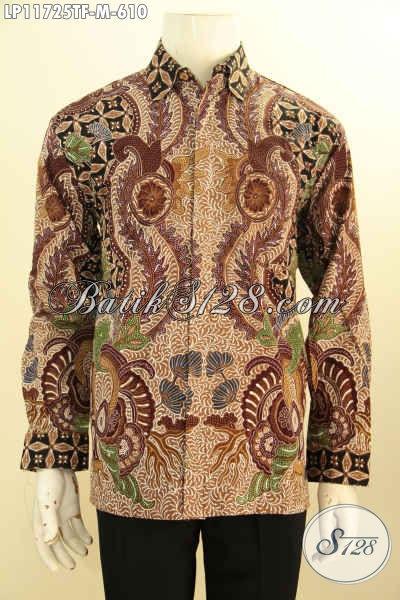 Baju Batik Premium Untuk Pria Sukses, Kemeja  Batik Lengan Panjang Full Furing Bahan Halus Motif Bagus Tulis Asli, Pas Banget Untuk Rapat Dan Acara Formal [LP11725TF-M]
