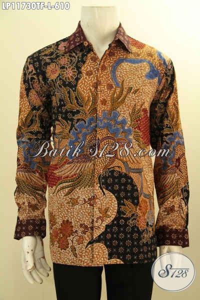 Baju Batik Kondangan Lengan Panjang Full Furing Size L, Busana Batik Pria Premium Desain Formal Motif Mewah Tulis Asli, Cocok Juga Untuk Kerja Kantoran