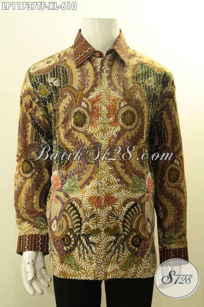 Baju Kemeja Batik Premium Nan Mewah Model Lengan Panjang, Hem Batik Tulis Asli Full Furing Desain Terbaru, Penampilan Gagah Berwibawa Di Setiap Moment [LP11737TF-XL]