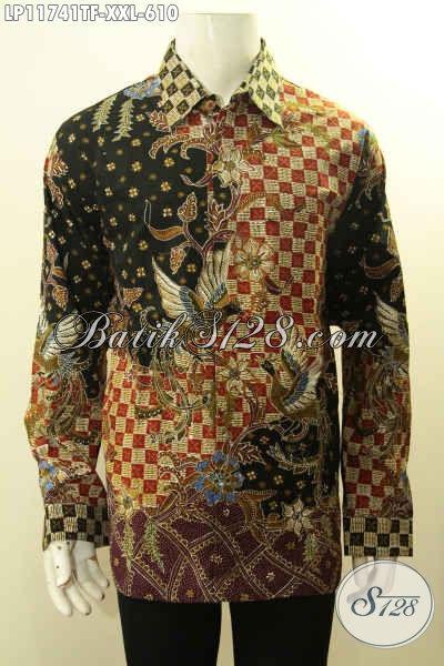 Batik Hem Mewah Ukuran Jumbo, Busana Batik Tulis Exclusive Nan Berkelas Untuk Pria Gemuk, Bahan Adem Daleman Full Furing Model Lengan Panjang, Tampil Gagah Menawan