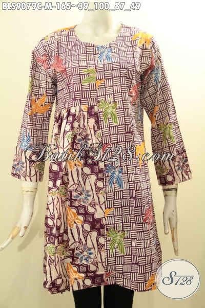 Batik Blouse Wanita Model Lengan Panjang Dengan Paduan Motif Elegan Proses Cap, Baju Batik Modis Dengan Resleting Belakang, Penampilan Lebih Keren Dan Cantik
