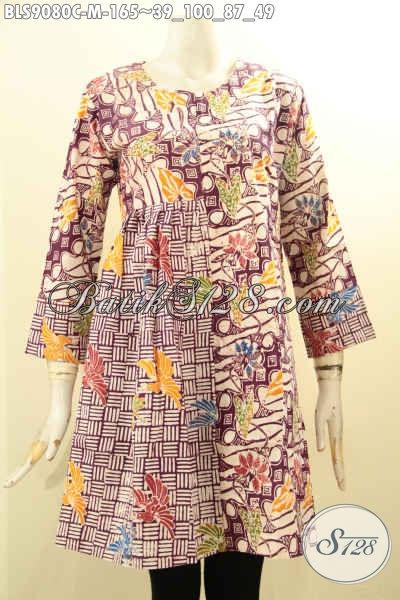 Model Busana Batik Wanita Terkini Motif Berkelas Lengan Panjang Resleting Belakang Pas Buat Kerja Atau Acara Resmi [BLS9080C-M]