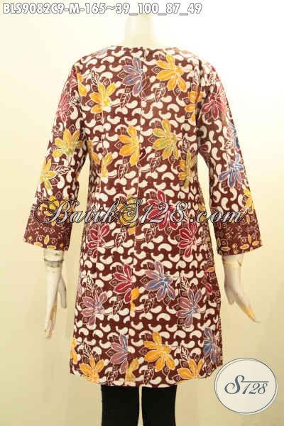 Batik Blouse Wanita Terbaru Lengan Panjang Resleting Belakang Motif Kombinasi Bahan Halus [BLS9082C-M]