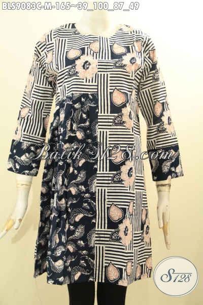 Pakaian Batik Wanita Yang Bikin Penampilan Anggun Dan Cantik, Blouse Batik Solo Berkelas Motif Unik Desain Kekinian [BLS9083C-M]