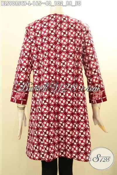Busana Batik Wanita Atasan Untuk Kerja Dan Acara Resmi, Blouse Batik Berkelas Lengan Panjang Resleting Belakang Mewah Harga Murah [BLS9085C-L]