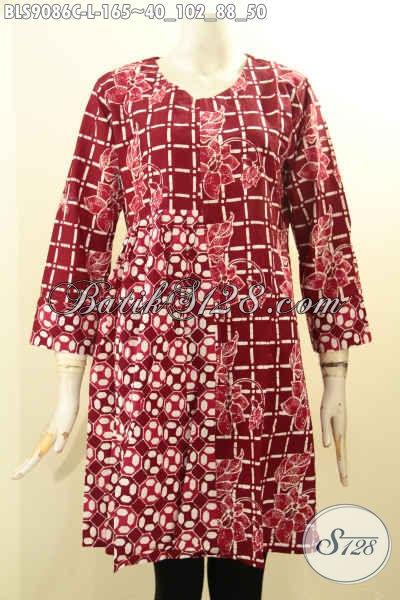 Produk Terbaru Pakaian Batik Wanita Warna Merah Motif Kwalitas Istimewa Desain Berkelas, Penampilan Makin Cantik Menawan [BLS9086C-L]