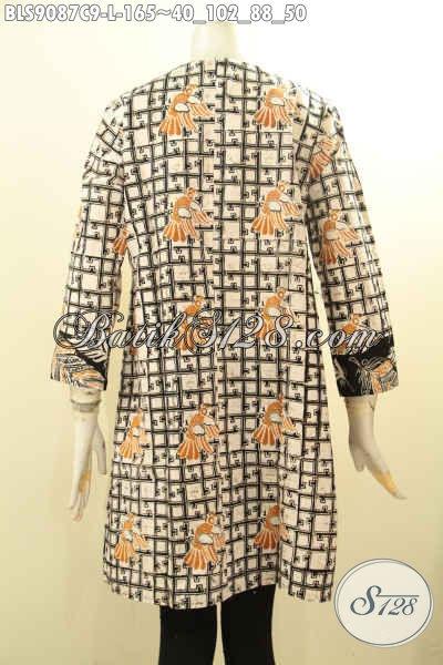 Blouse Batik Wanita Trendy, Pakaian Batik Cantik Lengan Panjang Motif Bagus Di Lengkapi Resleting Belakang Harga 100 Ribuan