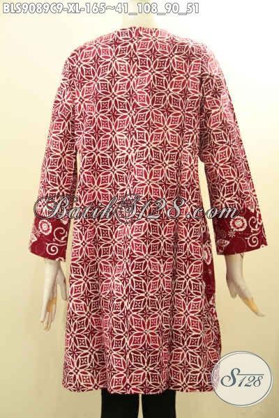 Model Baju Batik Atasan Wanita Motif Terbaru Tren Masa Kini, Busana Batik Lengan Panjang Resleting Belakang Cocok Buat Ngantor Tampil Beda [BLS9089C-XL]