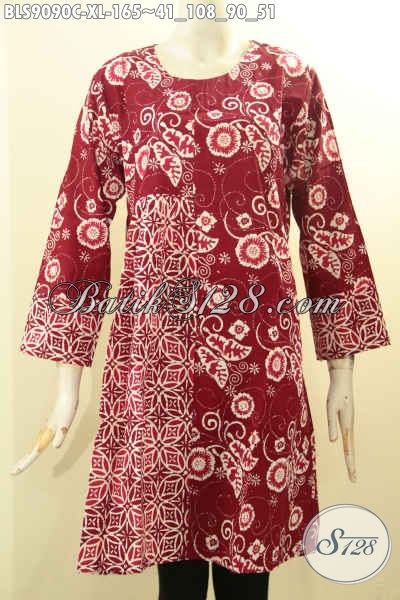 Pakaian Blouse Batik Warna Merah Elegan Dan Mewah Desain Terkini Lengan Panjang Resleting Belakang, Bikin Penampilan Cantik Menawan