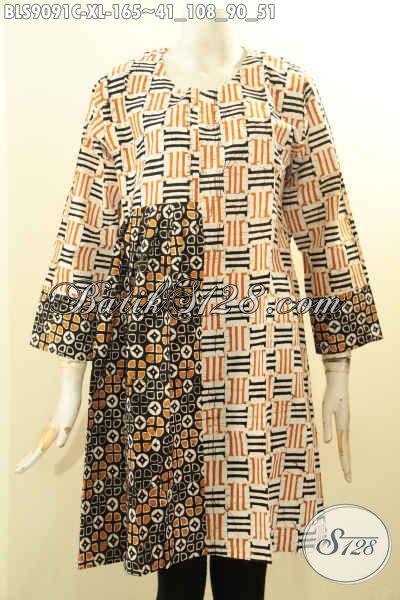 Batik Blouse Motif Kombinasi, Pakaian Batik Solo Istimewa Wanita Dewassa Karir Aktif, Cocok Buat Kerja Atau Acara Resmi [BLS9091C-XL]