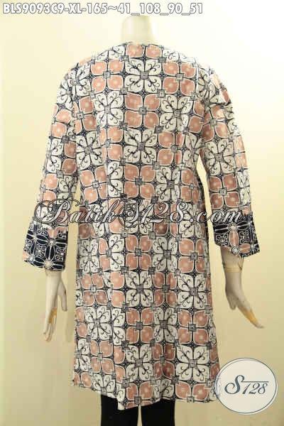 Pusat Busana Batik Solo Online Terlengkap, Sedia Blouse Batik Elegan Desain Berkelas Lengan Panjang Motif Terkini Hanya 100 Ribuan [BLS9093C-XL]