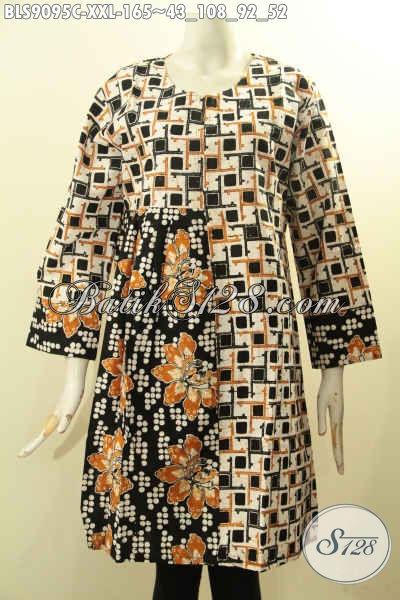 Baju Batik Wanita Gemuk, Busana Batik Solo Asli Model Terbaru Pakai Releting Belakang Motif Terkini Proses Cap, Pas Banget Untuk Kerja Kantoran