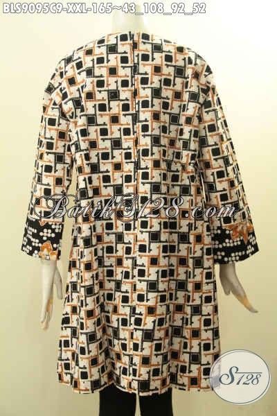 Busana Batik Atasan Wanita Gemuk, Baju Blouse Batik Solo Modern Lengan Panjang Resleting Belakang Bahan Halus Tampil Gaya [BLS9095C-XXL]