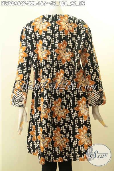 Blouse Batik Kekinian Lengan Panjang Resleting Belakang Motif Bagus Spesial Untuk Wanita Gemuk, Cocok Buat Kerja Dan Santai [BLS9096C-XXL]