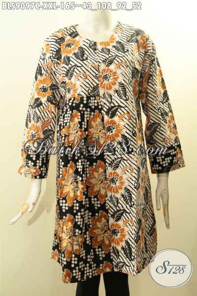 Produk Tebaru Busana Batik Wanita Modern Lengan Panjang Resleting Belakang Motif Bagus Bahan Ade, Cocok Untuk Yang Berbadan Gemuk [BLS9097C-XXL]