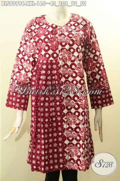 Batik Blouse Motif Bagus Bahan Adem Kwalitas Istimewa Warna Merah Desain Lengan Panjang Resleting Belakang Exclusive Untuk Wanita Gemuk [BLS9099C-XXL]