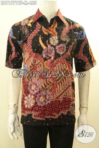 Kemeja Batik Pria Lengan Pendek Modis Motif Bagus Proses Tulis, Busana Batik Premium Full Furing Menunjang Penampilan Lebih Sempurna [LD11771TF-M]