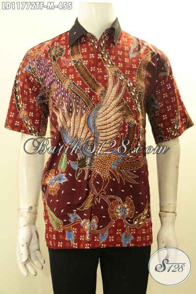 Pakaian Batik Modern Motif Elegan Model Lengan Pendek, Busana Batik Solo Halus Full Furing Proses Tulis, Penampilan Terlihat Premium