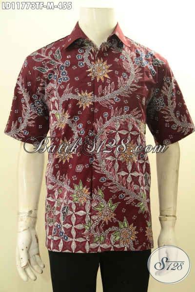 Batik Kemeja Pria Lengan Pendek Warna Elegan Desain Keren, Baju Batik Berkelas Daleman Full Furing Cocok Untuk Kondangan Dan Seragam Kantor [LD11773TF-M]