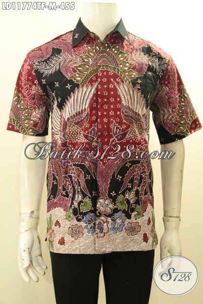 Pusat Baju Batik Premium Online, Sedia Kemeja Batik Tulis Lengan Pendek Pakai Furing Desain Berkelas Motif Bagus Bahan Adem Nyaman Di Pakai [LD11774TF-M]