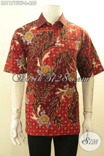 Baju Batik Pria Kantoran, Busana Batik Kwalitas Premium Lengan Pendek Motif Bagus Proses Tulis Di Lengkapi Lapisan Furing, Tampil Tampan Dan Berkelas [LD11775TF-L]