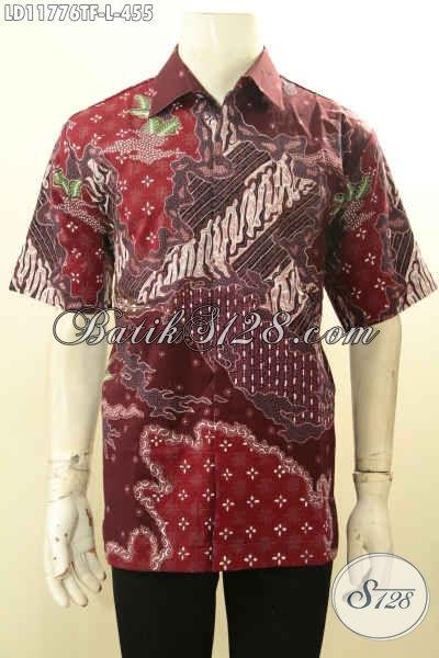 Busana Batik Elegan Nan Mewah Model Lengan Pendek, Kemeja Batik Tulis Pria Full Furing Khas Jawa Tengah, Bisa Untuk Kondangan Dan Ngantor [LD11776TF-L]