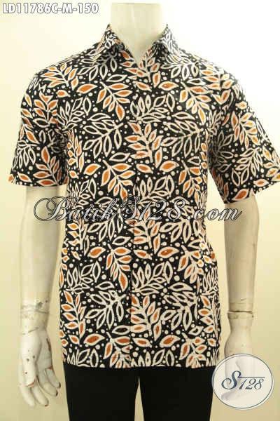 Baju Batik Trendy Lengan Pendek Halus Kwalitas Istimewa Bahan Adem Motif Unik Proses Cap, Bisa Untuk Kerja Dan Hangout [LD11786C-M]