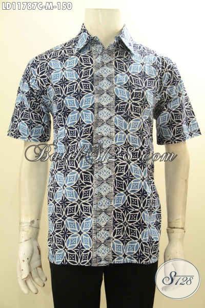 Kemeja Batik Solo Modern, Pakaian Batik Halus Motif Elegan Desain Mewah Proses Cap, Bisa Buat Ngantor Ataupun Kondangan