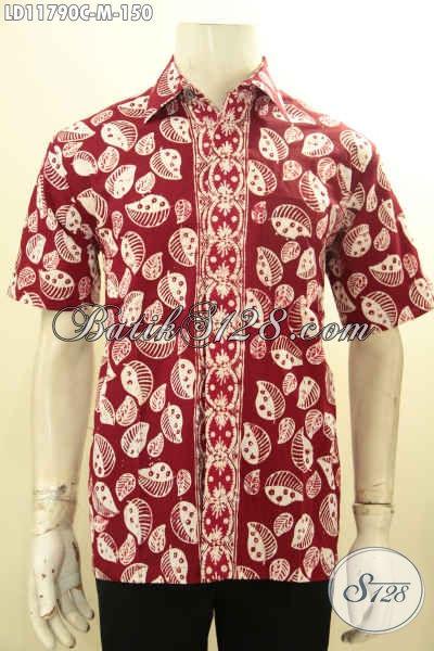 Kemeja Batik Modis Motif Unik Lengan Pendek Halus Warna Merah Proses Cap, Busana Batik Solo Asli, Bisa Untuk Hangout Dan Kerja [LD11790C-M]