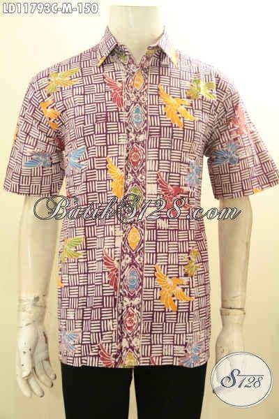 Baju Batik Casual Pria Lengan Pendek Motif Keren, Pakaian Batik Solo Istimewa Bahan Adem Proses Cap Kwalitas Istimewa Harga 100 Ribuan Saja [LD11793C-M]