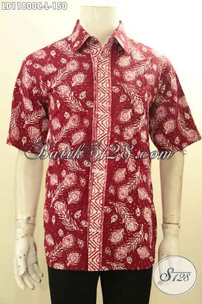 Busana Batik Solo Jawa Tengah Terkini, Pakaian Batik Modern Lengan Pendek Warna Merah Motif Unik Desain Terbaru, Bikin Penampilan Lebih Gagah Dan Tampan