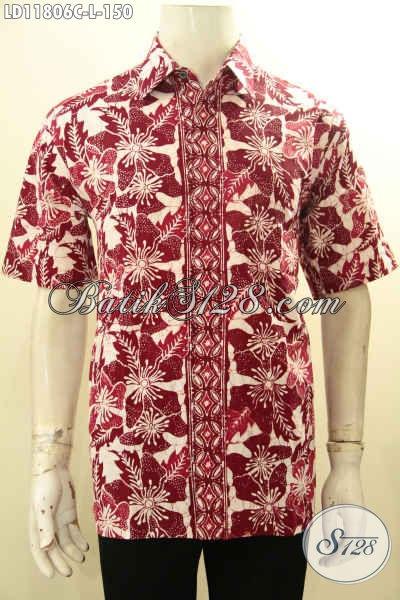 Baju Batik Pria Eceran Harga Grosir, Kemeja Batik Lengan Pendek Halus Motif Bagus Dan Keren Proses Cap, Pakaian Batik Cowok Warna Merah Menunjang Penampilan Makin Kekinian