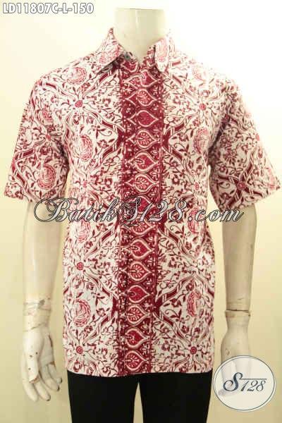 Pakaian Batik Solo Spesial Untuk Pria Kantoran, Busana Batik Elegan Warna Cerah Bahan Halus Motif Trendy Lengan Pendek, Cocok Juga Buat Kondangan [LD11807C-L]