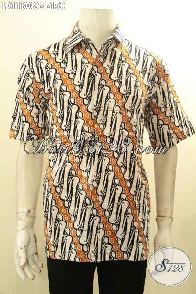 Busana Batik Solo Elegan Motif Parang Klasik Dengan Pduan Warna Modern, Baju Batik Istimewa Untuk Kerja Dan Acara Resmi Dengan Harga Biasa [LD11808C-L]