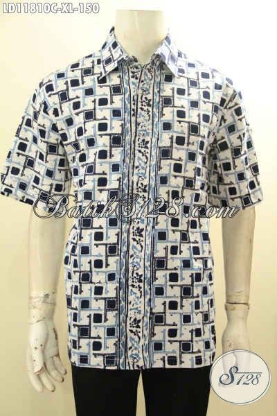 Baju Batik Cowok Keren Model Lengan Pendek, Pakain Batik Solo Modis Motif Bagus Warna Cerah Tampil Terlihatr Fresh Dan Gagah [LD11810C-XL]